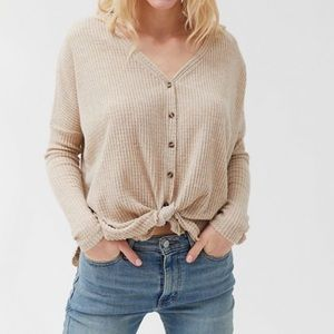 Urban Outfitters Jojo Oversized Thermal Button Top